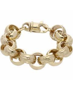 New 9ct Gold 8.5 Inch Pattern & Polish Belcher Bracelet 1.5oz