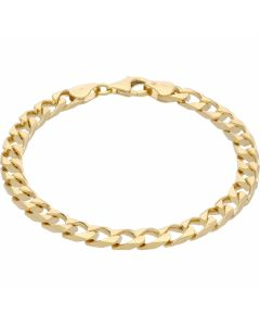 New 9ct Gold Solid 7.5Inch Heavy Square Curb Bracelet 13.4g