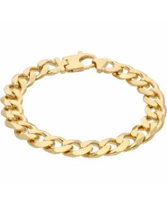 """New 9ct Yellow Gold Solid 8.5"""" Heavy Flat Curb Bracelet 1.4oz"""