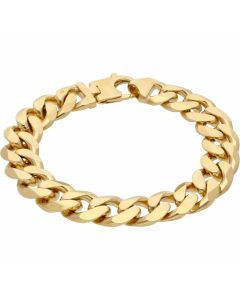 """New 9ct Yellow Gold Solid 8.5"""" Heavy Flat Curb Bracelet 2.1oz"""