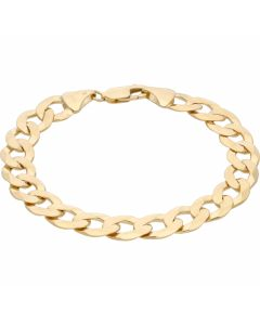 New 9ct Yellow Gold Solid 8.5 Inch Heavy Flat Curb Bracelet 21.g