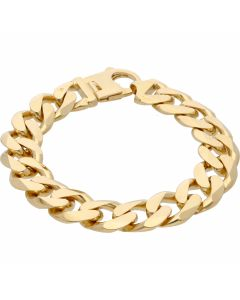 New 9ct Yellow Gold 9 Inch Heavy Solid Mens Curb Bracelet 2.4oz