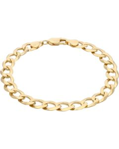 New 9ct Yellow Gold 9 Inch Solid Curb Mens Bracelet 17.6g