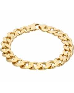 New 9ct Yellow Gold 9.5Inch Heavy Solid Mens Curb Bracelet 2.3oz