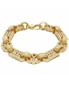 New 9ct Yellow Gold 9 Inch Stars & Bars Mens Bracelet 1.6oz