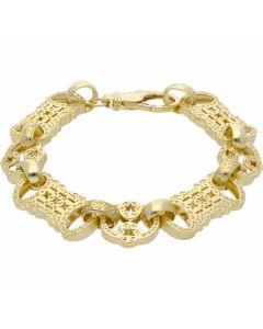 New 9ct Yellow Gold 9 Inch Stars & Bars Mens Bracelet 1.1oz