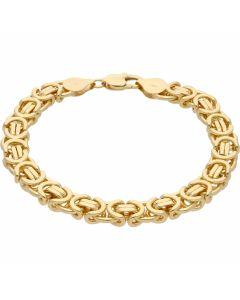 """New 9ct Yellow Gold 9"""" Flat Byzantine Link Bracelet 1.3oz"""