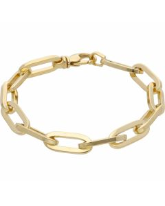 New 9ct Yellow Gold 8 Inch Paper Clip Link Bracelet 26.5g
