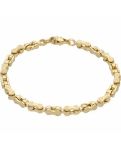 New 9ct Yellow Gold 8 Inch Bike Style Link Bracelet 13.9g