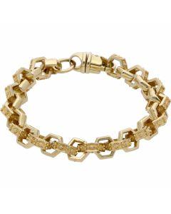 """New 9ct Yellow Gold Heavy 9.5"""" Hexagonal Belcher Bracelet 1.2oz"""