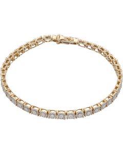 New 9ct Yellow Gold 1.30ct Diamond Bracelet