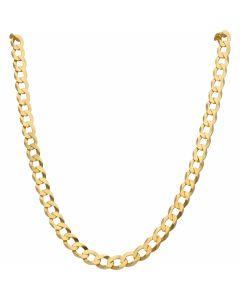 New 9ct Yellow Gold 26 Inch Flat Curb Link Chain Necklace 1.2oz
