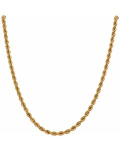 New 9ct Yellow Gold 18 Inch Hollow Rope Chain Necklace