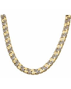 """New 9ct Yellow Gold 28"""" Cubic Zirconia Square Curb Chain 3.1oz"""