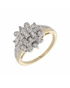 New 9ct Yellow Gold 0.21ct Diamond Illusion Set Cluster Ring
