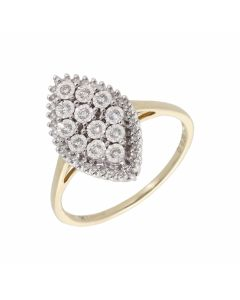 New 9ct Gold 0.20ct Diamond Illusion Marquise Cluster Ring