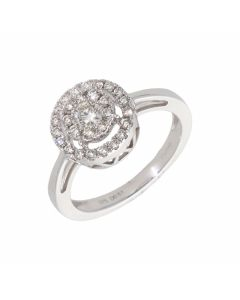 New 9ct White Gold 0.50ct Diamond Halo Cluster Ring