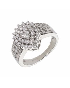 New 9ct White Gold 1.00ct Diamond Pear Shaped Cluster Ring