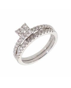 New 9ct White Gold 0.50ct Diamond Cluster & Eternity Bridal Set