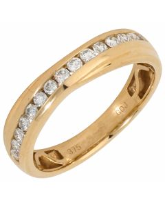 New 9ct Yellow Gold 0.31ct Diamond Eternity Cross Over Ring