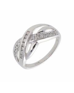 New 9ct White Gold 0.25ct Diamond Wave Dress Ring