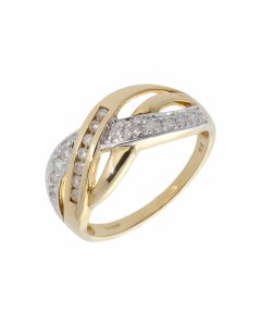 New 9ct Yellow Gold 0.25ct Diamond Wave Design Dress Ring