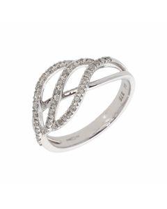 New 9ct White Gold 0.18ct Diamond Wave Design Ring