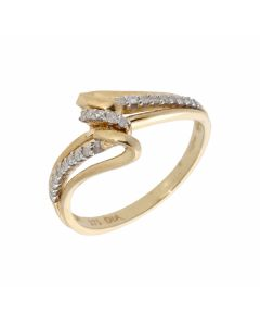 New 9ct Yellow Gold 0.15ct Diamond Wave Design Ring