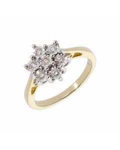 New 9ct Yellow Gold 0.25ct Illusion Set Diamond Cluster Ring