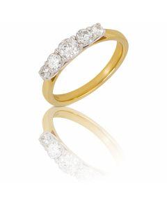 New 9ct Yellow Gold 0.75ct Diamond Graduated 5 Stone Ring