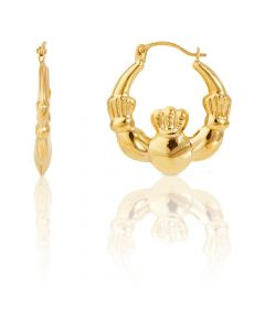 New 9ct Yellow Gold Claddagh Style Creole Hoop Earrings