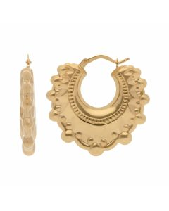New 9ct Yellow Gold Round Large Traditional Creole Hoop Earrings