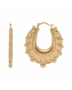 New 9ct Yellow Gold Large Oval Traditional Creole Hoop Earrings