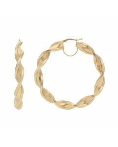 New 9ct Yellow Gold 55mm Satin & Polished Twist Hoop Earrings