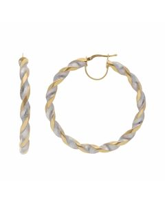 New 9ct Yellow & White Gold 55mm Twisted Hoop Earrings