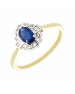 New 9ct Gold Sapphire & Diamond Oval Vintage Style Cluster Ring
