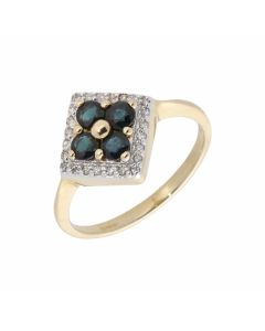New 9ct Yellow Gold Sapphire & Diamond Cluster Dress Ring