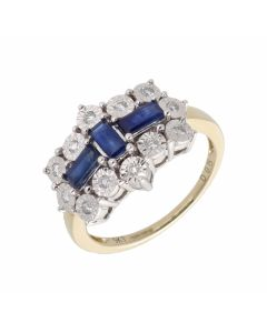 New 9ct Yellow Gold Sapphire & Diamond Boat Cluster Ring
