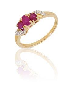 New 9ct Yellow Gold Ruby & Diamond 3 Stone Dress Ring