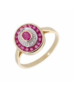 New 9ct Yellow Gold Ruby & Diamond Oval Cluster Ring