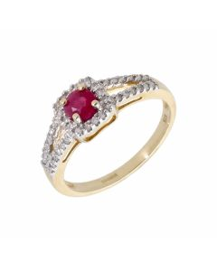 New 9ct Yellow Gold Ruby & Diamond Cluster Dress Ring