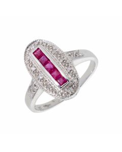 New 9ct White Gold Ruby & Diamond Vintage Insipred Dress Ring
