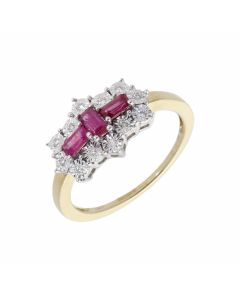 New 9ct Yellow Gold Ruby & Diamond Boat Shaped Cluster Ring
