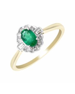New 9ct Gold Emerald & Diamond Oval Vintage Style Cluster Ring