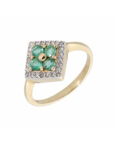 New 9ct Yellow Gold Emerald & Diamond Cluster Dress Ring