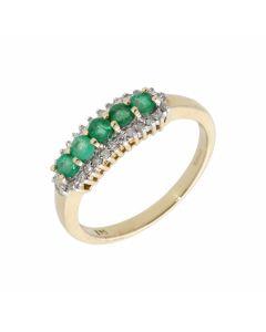 New 9ct Yellow Gold Emerald & Diamond Eternity Style Dress Ring