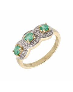 New 9ct Yellow Gold Emerald & Diamond Triple Cluster Dress Ring