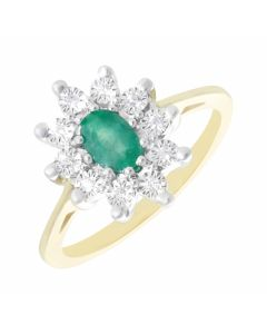 New 9ct Yellow Gold Emerald & Diamond Oval Cluster Ring