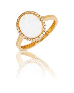 New 9ct Gold Cultured Opal & Cubic Zirconia Oval Cluster Ring
