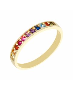 New 9ct Yellow Gold Hope Rainbow Cubic Zirconia Eternity Ring
